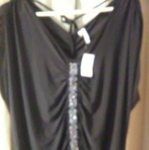Black silky sequined blouse